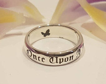 Once Upon A Time Ring, Fairy Tale Ring, Butterfly Ring, Disney Princess, Personalized Ring, Handmade, Custom Jewelry, Book Jewelry