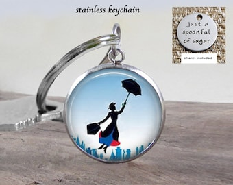Mary Poppins Necklace Jewelry - Stainless 25mm - Choose Necklace or Key Chain - Mary Poppins Jewelry - Spoonful of Sugar Charm Included