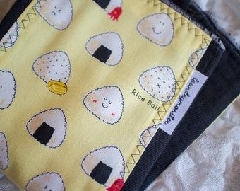 Baby burp cloth - onigiri hand dyed black burp cloth