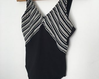 Vintage black and white one piece swimsuit