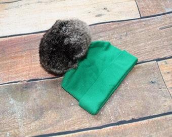 Ready To Ship 0-3 Months Luxury Faux Fur Pom Pom Baby Hat Green Brown Ombre Pom Pom Faux Fur