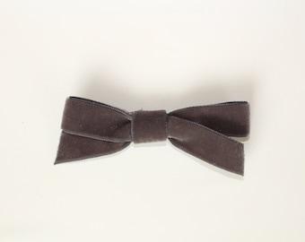 Smoke Gray Velvet Bow--Gray Velvet Bow--Velvet Bow--Velvet Ribbon Bow--Clip or Nylon Headband