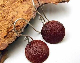 LAST Pair of Copper Enamel Earrings in GINGERBREAD BROWN - Medium Round Enameled Discs on Handmade Sterling Silver Dangly Wires