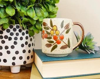 Vintage Japanese Speckled Stoneware Berry Mug