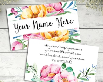 Custom business card design watercolor floral personalised sweet modern pink and yellow flowers graphics shop branding digital download