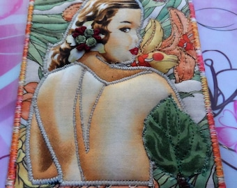 Quilted Fabric Postcard  - Artist Trading Cards - Handmade Postcard - Embroidered Postcard - Fabric Postcard - Applique Postcard