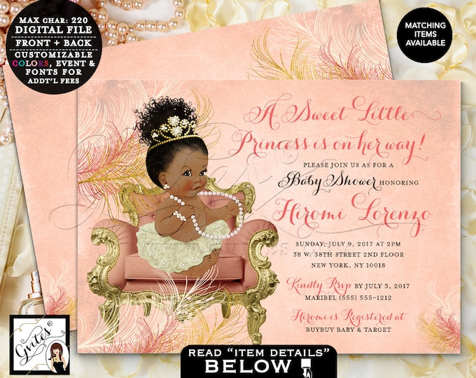 """Coral and Gold Baby Shower, African American Princess Invitation, Vintage, Ivory Gold Coral invites, digital {Double Sided, 7x5""""} Gvites"""