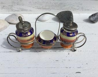 Shabby chic vintage Pearlware Bohemian  cruet set