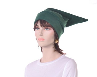 Dark Green Pointed Elf Hat Mens Womens Halloween Costume Stocking Cap