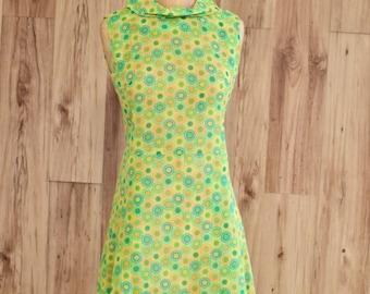 1960s Sheer Flower Power Dress, Sixties Green Florals Spring Dress, A Line Sleevless Mod Dress w/ Turtle Neck, Twiggy Style Mod Gogo Dress