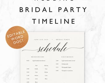 Wedding Timeline Template · Bridal Party Wedding Morning / Getting Ready Schedule · Half Letter & A5 Editable Word Document · Emilie Suite