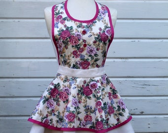 Women's Full Apron Slip On Style in Cream Floral Print in Pinks, Blues and Greens