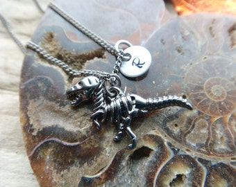 Tyrannosaurus Rex Charm Necklace- Personalized Tag Skeleton Dinosaur Geek Pendant- Dino Custom Pendant- Geekery  Necklace Jewelry on Chain