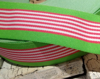 "1.5"" PREPPY Pink White and Green Stripe Grosgrain Ribbon 3 yards"
