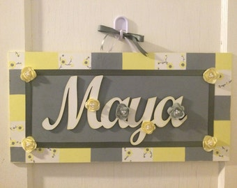Wood Plaque Cursive Name Sign - Hand Painted Nursery Name Sign - Kids Cursive Name Sign