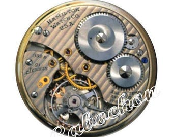 2 illustrated cabochon 16mm domed glass cabochon image steampunk watch dial