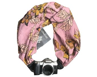 Camera Strap with Lens Pocket -  The Original Camera Scarf Strap With Hidden Pocket - Dusty Rose and Yellow Floral Print