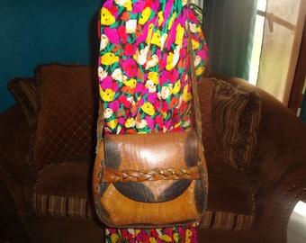 Brown, Leather, Tooled Leather, Roses, Boho, Shoulder Bag