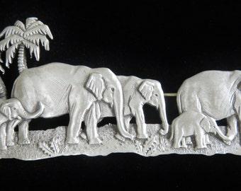 Large JJ Jonette Elephant Walk Jungle Journey Brooch Pin/Rare