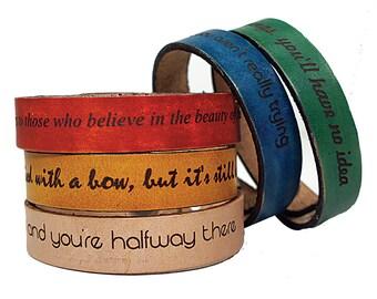 Personalized Bracelets - Mens Leather Bracelet - Womens Leather Cuff - Engraved Bracelet
