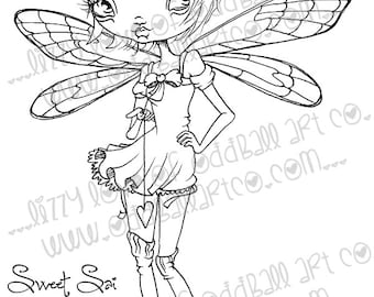INSTANT DOWNLOAD Digi Stamp Digital Big Eye Fairy Art ~ Sweet Sai the Fairy Image No.167 & 167B by Lizzy Love