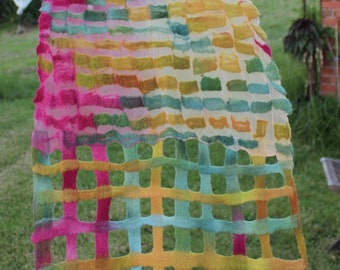 Clothing gift Multicolored  Merino Wool and Silk Nuno Felt Scarf  Wrap
