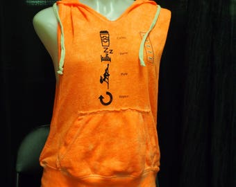 "S - Open-Side Orange Hooded Vest Top Printed with ""Coffee-Sleep-Pole-Repeat"" (Great for pole/yoga/fitness/workout/dance/casual/aerial arts)"