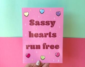 Sassy Hearts Run Free A5 Print