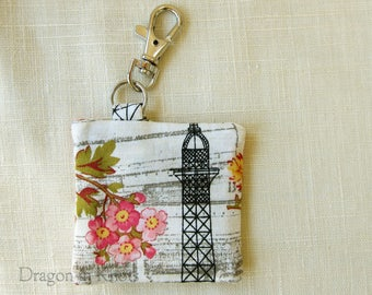 Eiffel Tower Earbud Holder - Floral Guitar Pick Pouch, Mini Keychain Pocket, Paris France, pink flowers, travel-themed clip on keyring