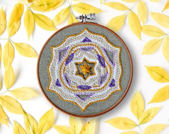beginner embroidery pattern, STAR mandala, modern handembroidery, contemporary, mandala embroidery pattern, diy hoop art, home decor