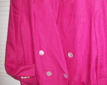 Vintage J H Collectibles NY hot pink blazer, double breasted 14 perfectly perfect linen
