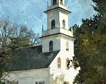 Fine Art Print of Old St. David's Church in Cheraw, South Carolina in Watercolor Rendering