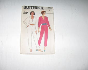 HALF PRICE Uncut Factory Folds Butterick Pattern 3080 Fast And Easy Size 10 1980s Jumpsuit And Top Dated 1985 Was 7.00 Now 3.50