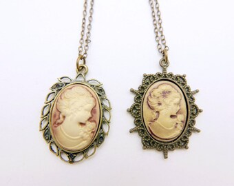 Victorian Woman Cameo Necklace, Antiqued Gold, Vintage Inspired Romantic Victorian Jewelry,