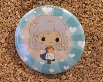 Old Sophie & Calcifer Howl's Moving Castle Chibi Studio Ghibli Miyazaki Button Keychain