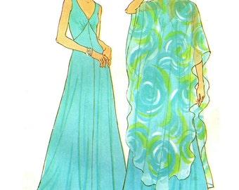 Simplicity 7183 Evening Length Dress Sheer Over-Dress Wrap VINTAGE 1970s Bust 36 c.1975