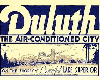Vintage Style Duluth Minnesota Lake Superior Travel Decal sticker