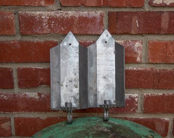 Vintage Tin Candle Wall Sconce set of two