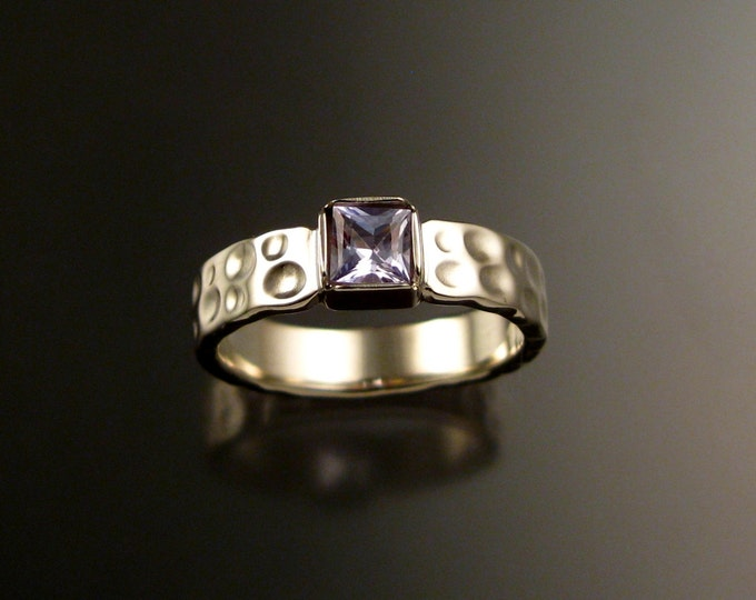 Sapphire square Moonscape ring handcrafted in 14k white gold with your choice of color made to order in your size