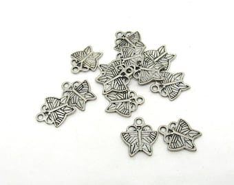 13 Antique Silver Tone Butterfly Charms  17 x 17mm (B513e8)