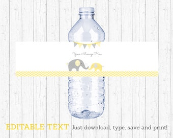 Cute Elephant Water Bottle Labels / Elephant Baby Shower / Chevron Pattern / Yellow & Grey / Printable INSTANT DOWNLOAD Editable PDF A205