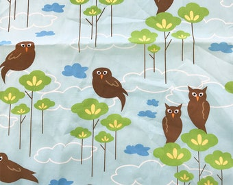 Hot Couturier Owls Sky Blue, Robert Kaufman, 100% Cotton Quilting Fabric Apparel, Fabric by the Yard