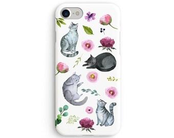 Cat amongst flowers iPhone X case - iPhone 8 case - Samsung Galaxy S8 case - iPhone 7 case - Tough case 1P096