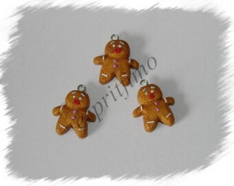 "Charm ""Mr mini gingerbread man"" in fimo"