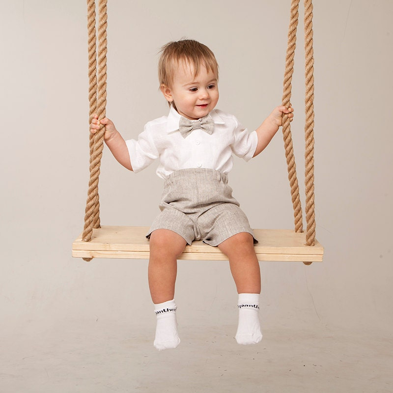 Baby boy linen suit Ring bearer outfit Rustic wedding boy