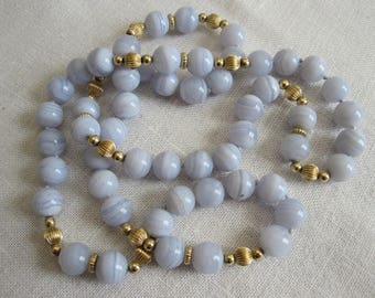 PALE BLUE ONYX And Gold Beaded Necklace Vintage