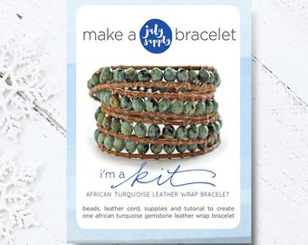 beaded bracelet kit, leather bracelet kit, african turquoise bracelet, gift for her, DIY bracelet kit, DIY gift, boho bracelet kit