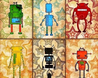 6 Retro Robot Art Prints,Kids Room Decor,Robot Giclée Prints,Boys Nursery Art, Boys Room, Robot Wall Art Kids Room,Kid Bedroom,Birthday Gift