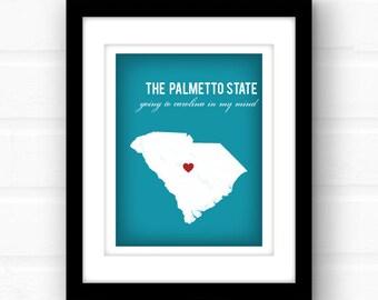 South Carolina Art   South Carolina Map   South Carolina palmetto art   custom South Carolina print