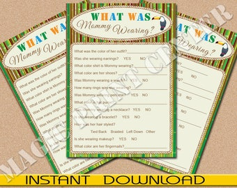"""What Is Mommy Wearing, Baby Shower Game, Jungle Theme, Printable, PDF and JPG, Instant Download, 5""""x7"""""""